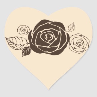 Cream and Coffee Roses Coordinating Gifts Heart Sticker