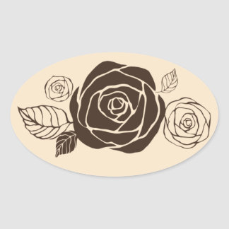 Cream and Coffee Roses Coordinating Gifts Oval Sticker
