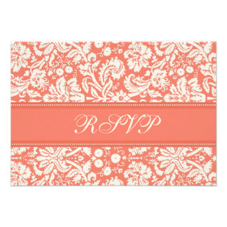 Cream and Coral Damask RSVP Wedding Card