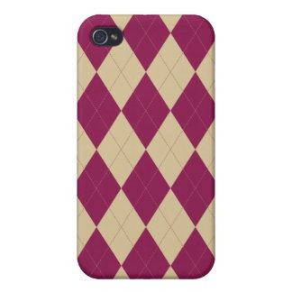 Cream and Dark Magenta Argyle iPhone 4/4S Cover