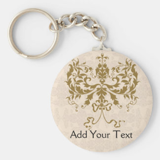 Cream and Gold Damask Basic Round Button Keychain