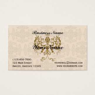 Cream and Gold Damask Business Card
