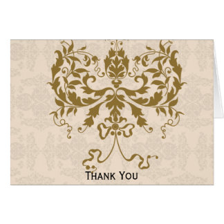 Cream and Gold Damask Stationery Note Card