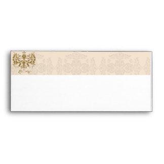 Cream and Gold Damask Envelope