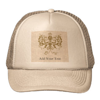 Cream and Gold Damask Trucker Hat