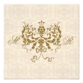 Cream and Gold Damask Initials Square Invitation