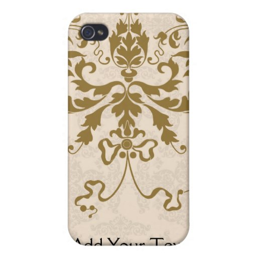 Cream and Gold Damask iPhone 4 Case