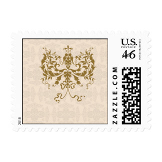 Cream and Gold Damask Postage