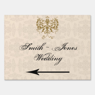 Cream and Gold Damask Wedding Direction Sign