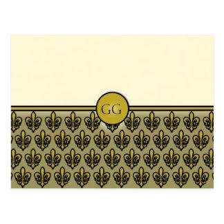 Cream and Gold Fleur de Lis Postcards