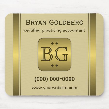 Cream and Gold Plate Custom Promotional Accounting Mousepad
