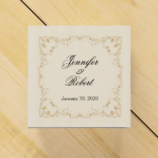 Cream and Gold Vintage Pinstripe Floral Favor Box