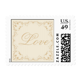 Cream and Gold Vintage Pinstripe Floral Stamp