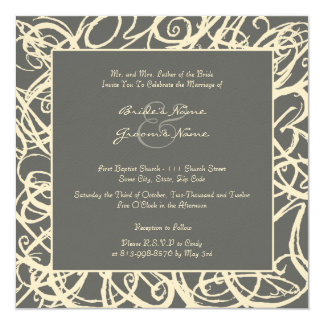 Cream and Gray Sketchy Frame Wedding Invitation