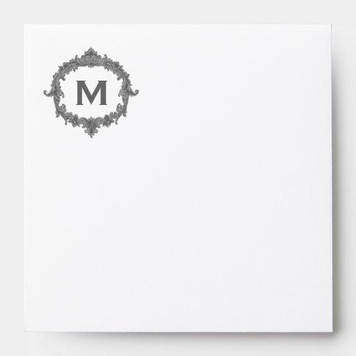 Cream and Gray Vintage Monogram M Felt Paper Envelope