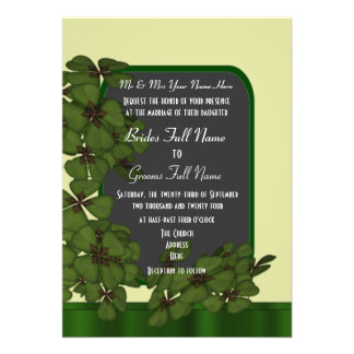 Cream and green Irish shamrock clover wedding Card