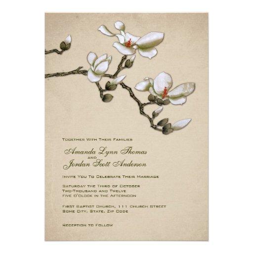 Cream and green magnolia wedding invitation zazzle for Magnolia tree wedding invitations