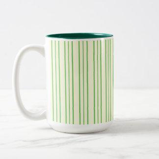 Cream and Green Pinstripe Two-Tone Coffee Mug
