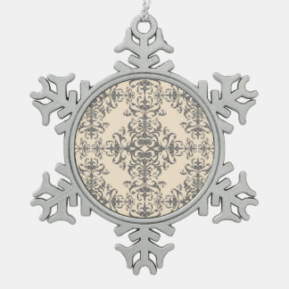 Cream and Grey Elegant Victorian Style Damask Art Ornaments