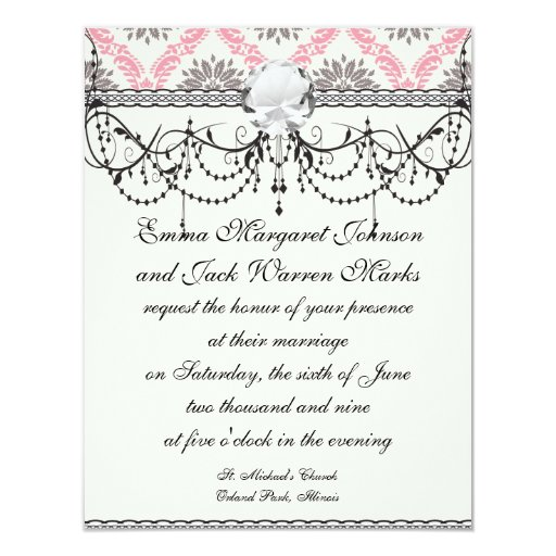 cream and grey tan damask bliss 4.25x5.5 paper invitation card