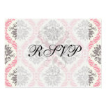 cream and grey tan damask bliss large business cards (Pack of 100)