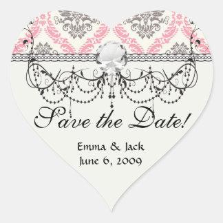 cream and grey tan damask bliss heart sticker