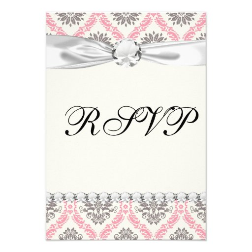 cream and grey tan damask bliss personalized invitations