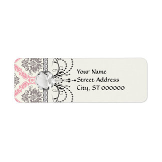 cream and grey tan damask bliss label