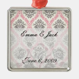 cream and grey tan damask bliss metal ornament