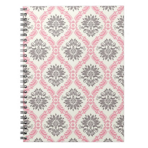 cream and grey tan damask bliss notebook