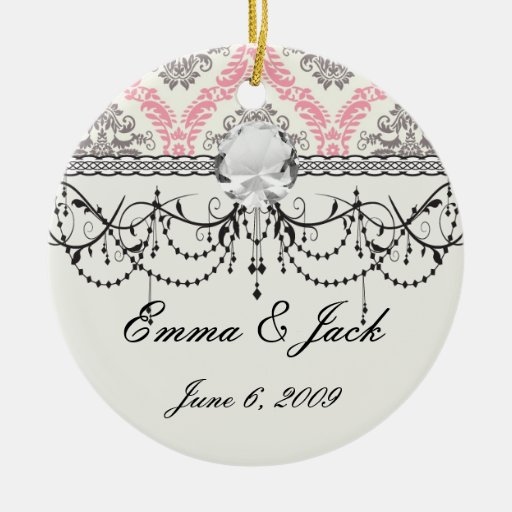 cream and grey tan damask bliss Double-Sided ceramic round christmas ornament