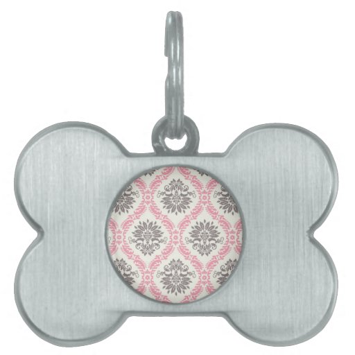 cream and grey tan damask bliss pet tags