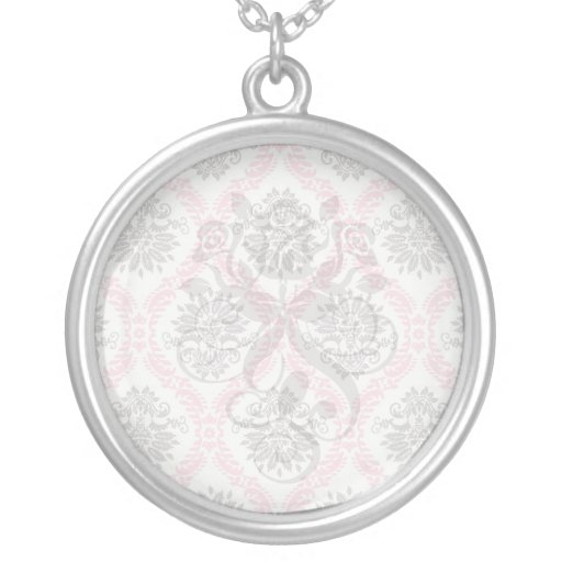 cream and grey tan damask bliss round pendant necklace