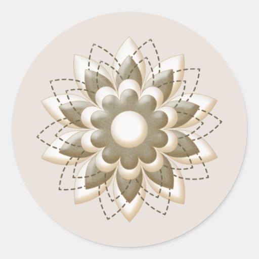 Cream and khaki Flower Head Classic Round Sticker