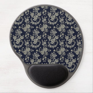 Cream and Navy Blue Floral Gel Mouse Pad