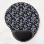 Cream and Navy Blue Floral Gel Mouse Pads