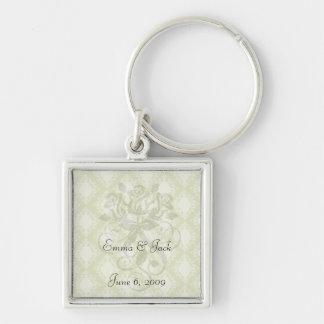 cream and olive diamond elegant damask key chain