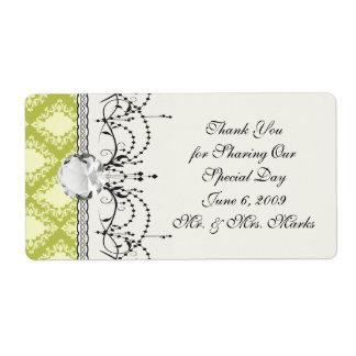cream and olive diamond elegant damask label