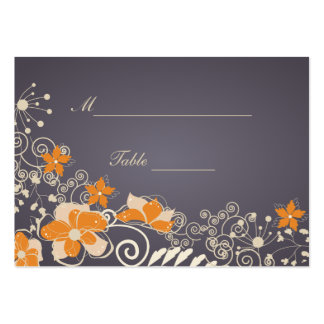 Cream and Orange Autumn Flowers Place Setting Large Business Card
