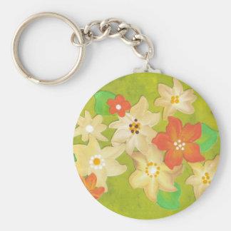 Cream and orange flower key chain