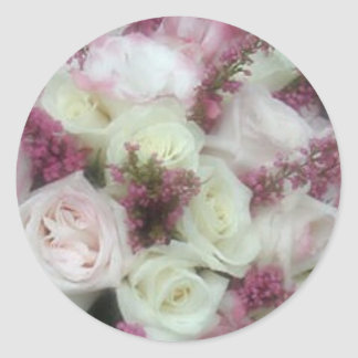 Cream and Pale Pink Rose envelope seals Classic Round Sticker