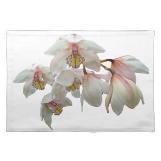 Cream and Pink Orchids Cloth Placemat