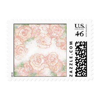 Cream and Pink Roses Floral Postage stamp