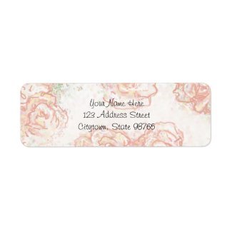 Cream and Pink Roses Return Address Label label