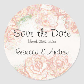 Cream and Pink Roses Save the Date Sticker