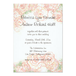 Cream and Pink Roses Wedding Invitation
