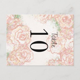 Cream and Pink Roses Wedding Table Card postcard