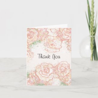 Cream and Pink Roses Wedding Thank You Card card