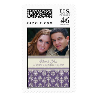 Cream and Plum Thank You Wedding Stamps
