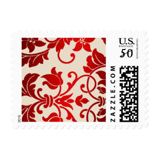 Cream and Red Damask Brocade Baroque Postage